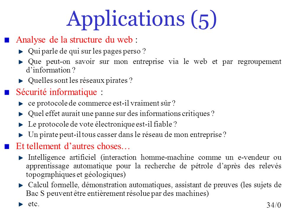 Applications (5) Analyse de la structure du web :