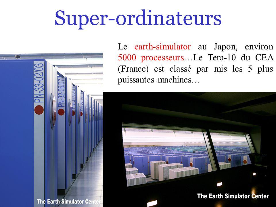 Super-ordinateurs Le earth-simulator au Japon, environ 5000 processeurs…Le Tera-10 du CEA (France) est classé par mis les 5 plus puissantes machines…
