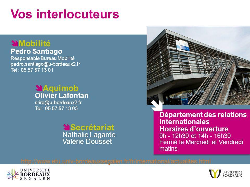 Vos interlocuteurs mobilit aquimob olivier lafontan ppt t l charger - Bureau des relations internationales ...