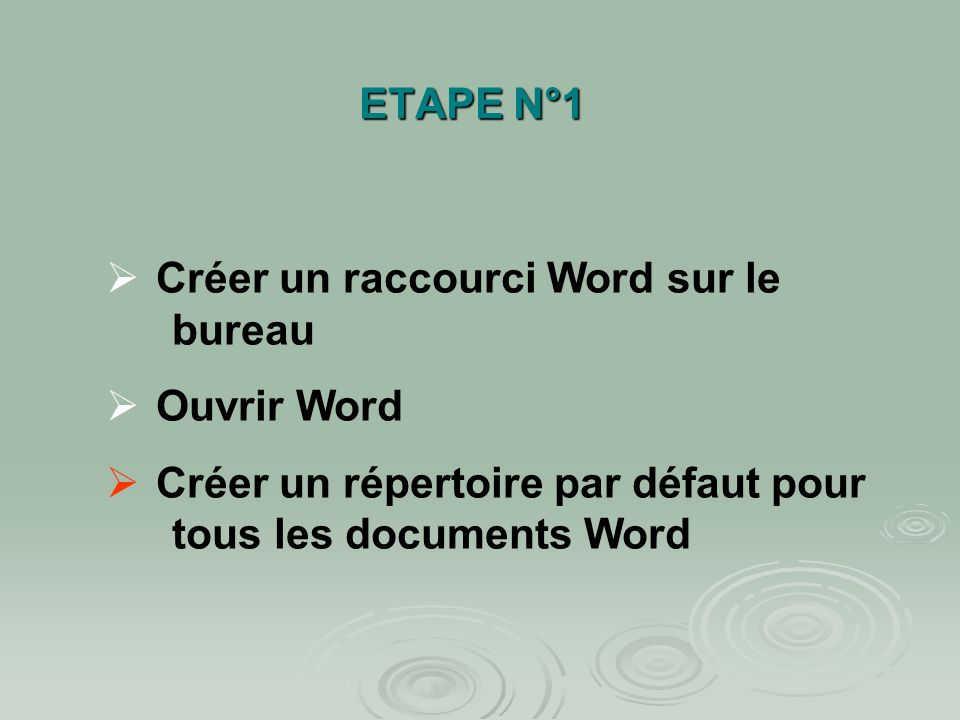 ETAPE N°1 Créer un raccourci Word sur le bureau. Ouvrir Word.