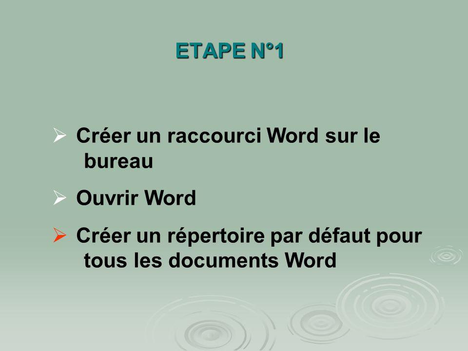 ETAPE N°1Créer un raccourci Word sur le bureau.Ouvrir Word.