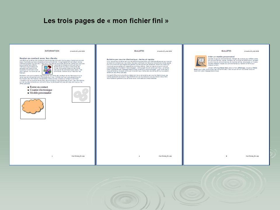 Les trois pages de « mon fichier fini »