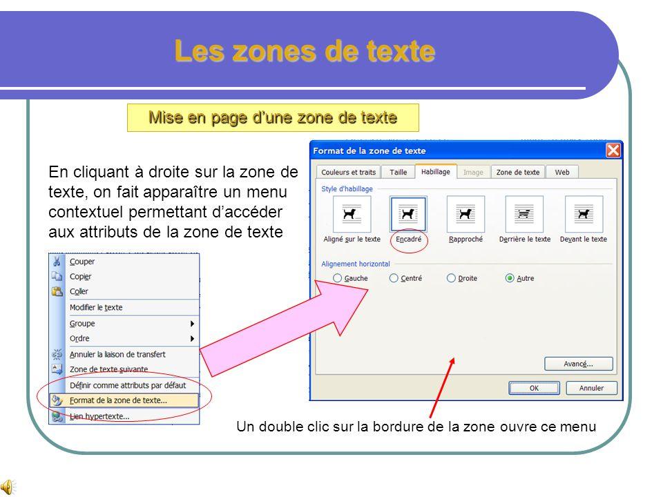 Mise en page d'une zone de texte