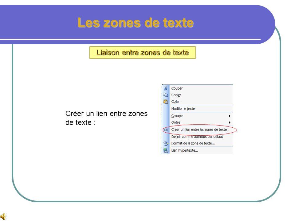 Liaison entre zones de texte