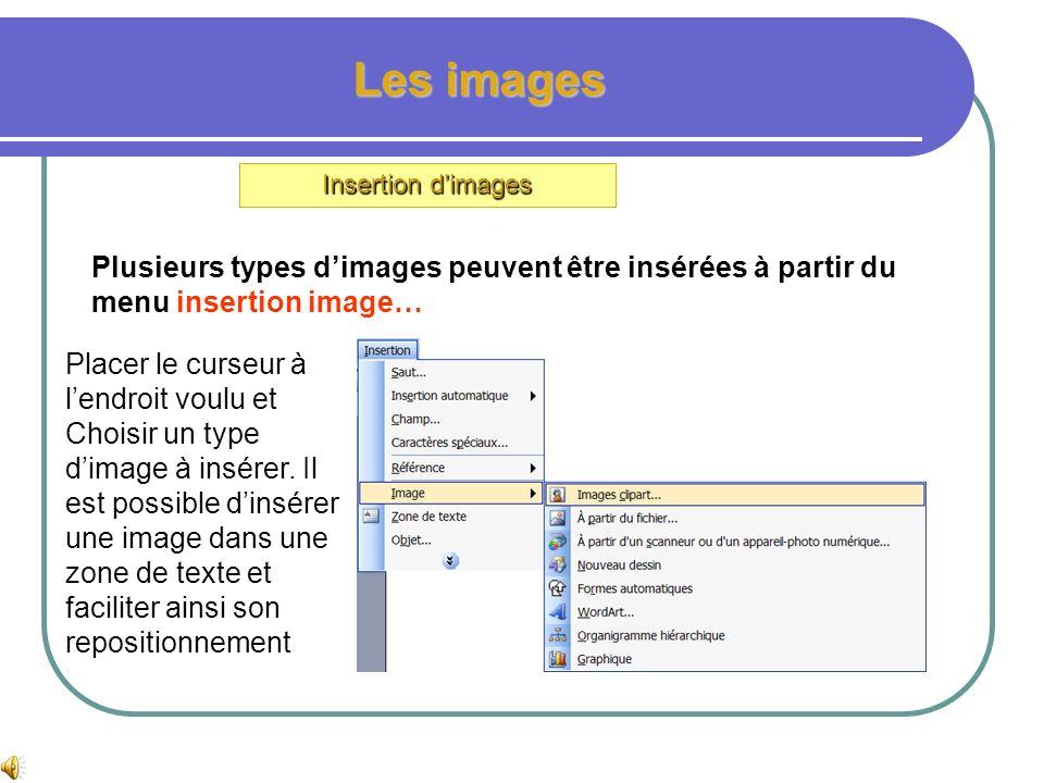 Les imagesInsertion d'images. Plusieurs types d'images peuvent être insérées à partir du menu insertion image…