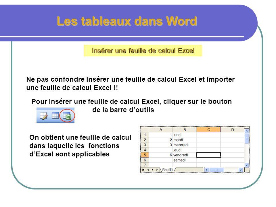 Insérer une feuille de calcul Excel