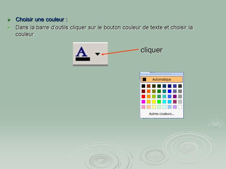 cliquer Choisir une couleur :