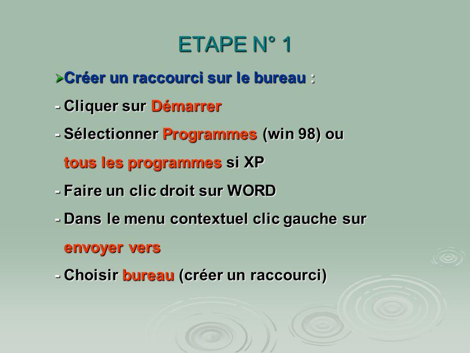 ETAPE N° 1Créer un raccourci sur le bureau : - Cliquer sur Démarrer - Sélectionner Programmes (win 98) ou.