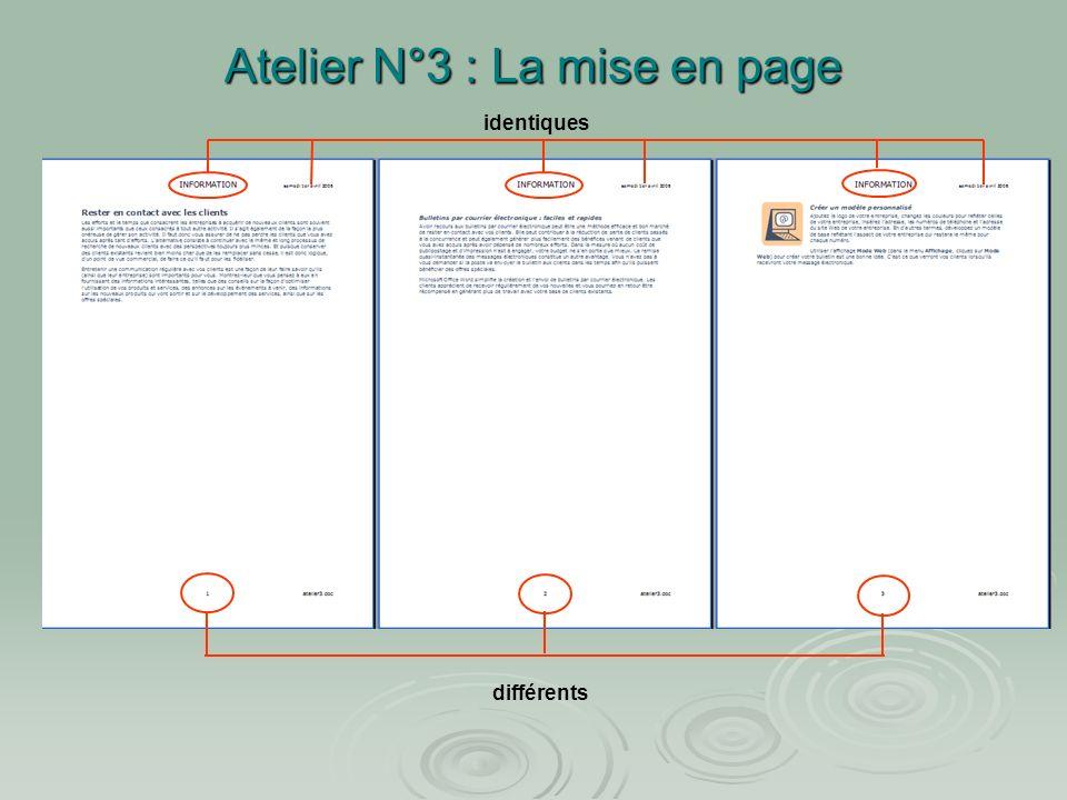 Atelier N°3 : La mise en page