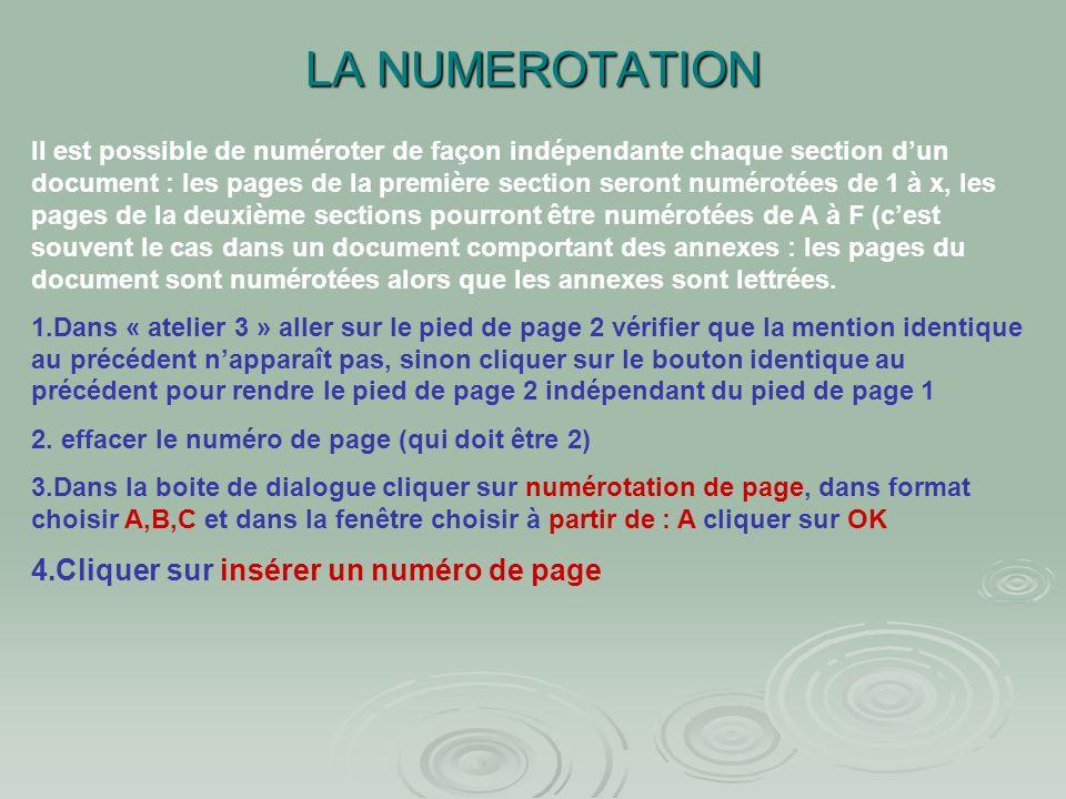 LA NUMEROTATION Cliquer sur insérer un numéro de page
