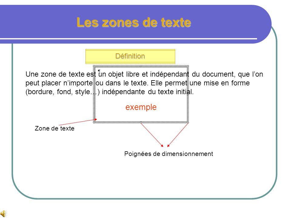 Les zones de texte exemple Définition