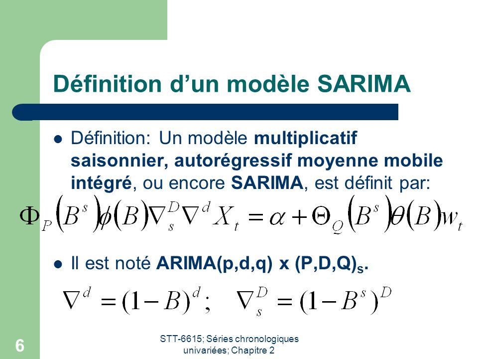 Définition d'un modèle SARIMA