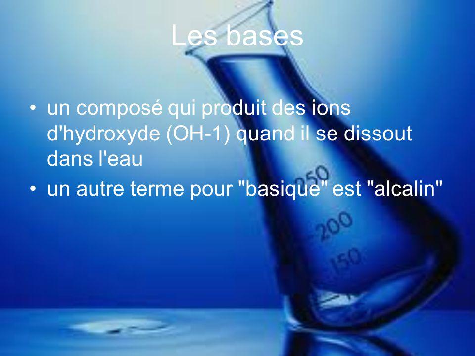 Les bases un composé qui produit des ions d hydroxyde (OH-1) quand il se dissout dans l eau.
