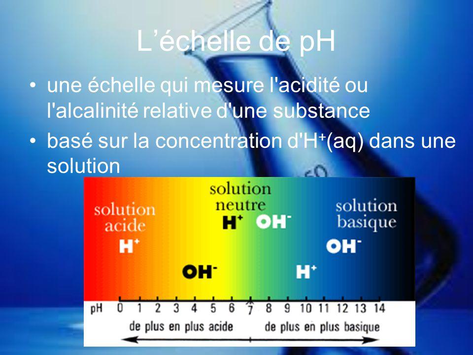 L'échelle de pH une échelle qui mesure l acidité ou l alcalinité relative d une substance.