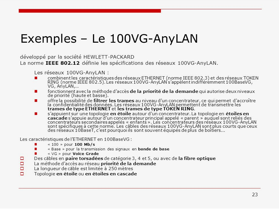 Exemples – Le 100VG-AnyLAN