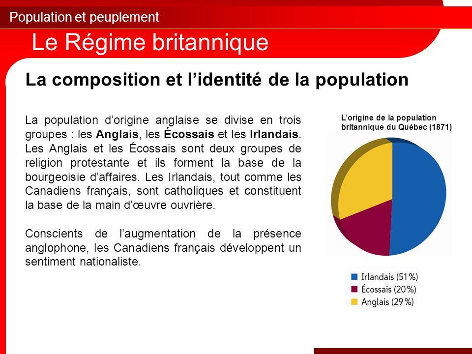 Le Régime britannique La composition et l'identité de la population
