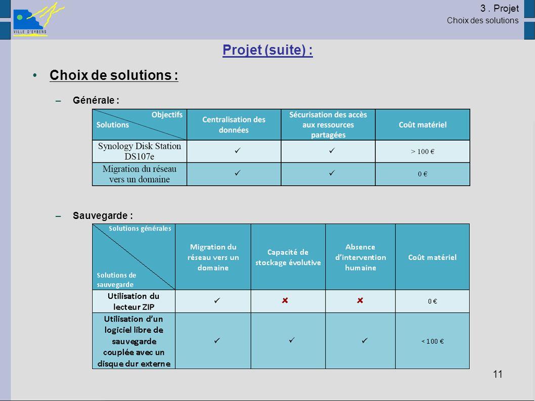 Projet (suite) : Choix de solutions : 3 . Projet Générale :