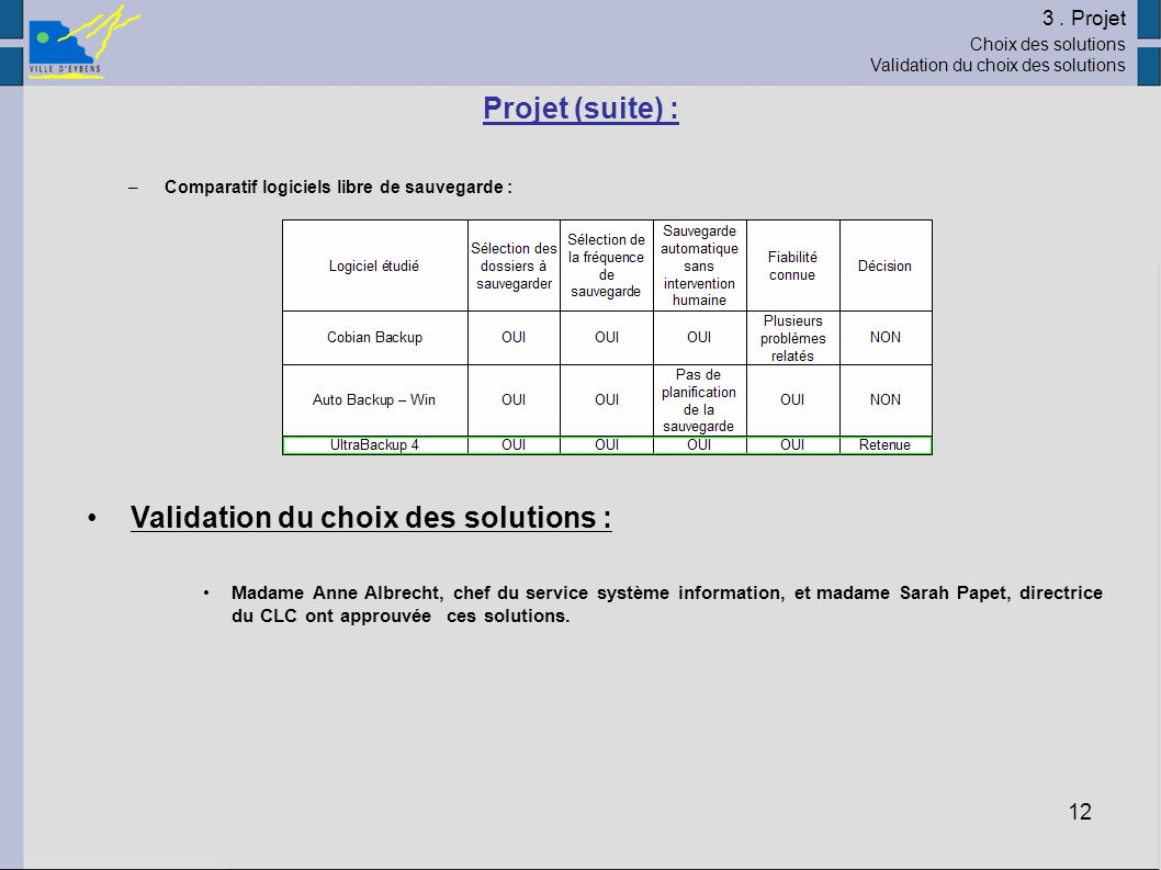 Validation du choix des solutions :