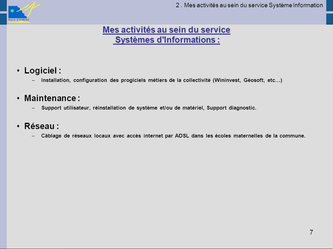 Mes activités au sein du service Systèmes d Informations :