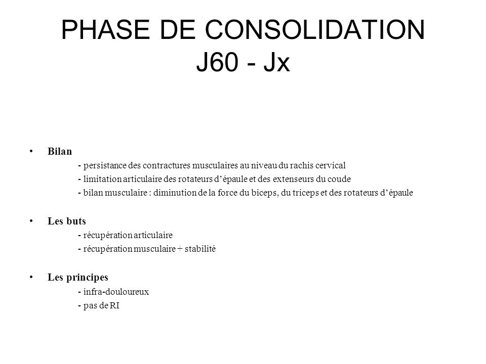 PHASE DE CONSOLIDATION J60 - Jx