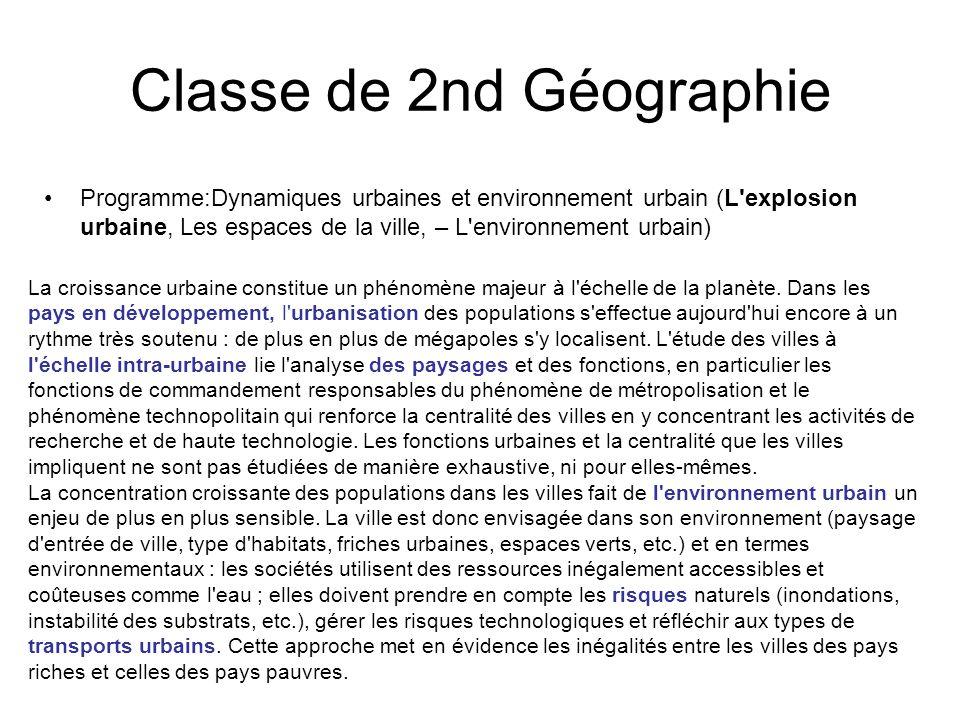 Classe de 2nd Géographie