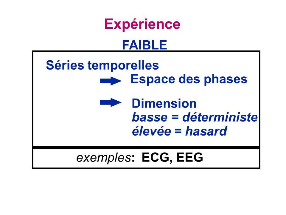 Expérience FAIBLE Séries temporelles Espace des phases Dimension