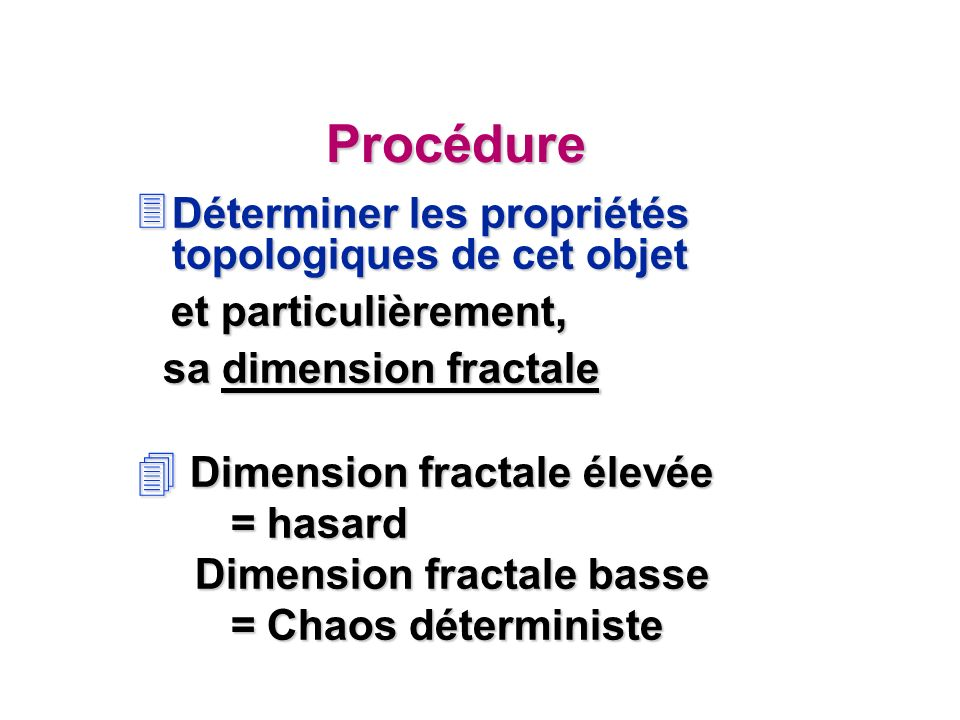 Procédure sa dimension fractale