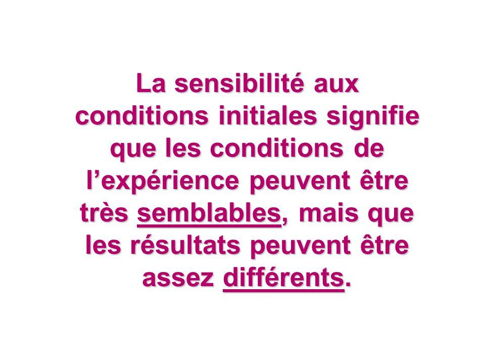 La sensibilité aux conditions initiales signifie que les conditions de l'expérience peuvent être très semblables, mais que les résultats peuvent être assez différents.