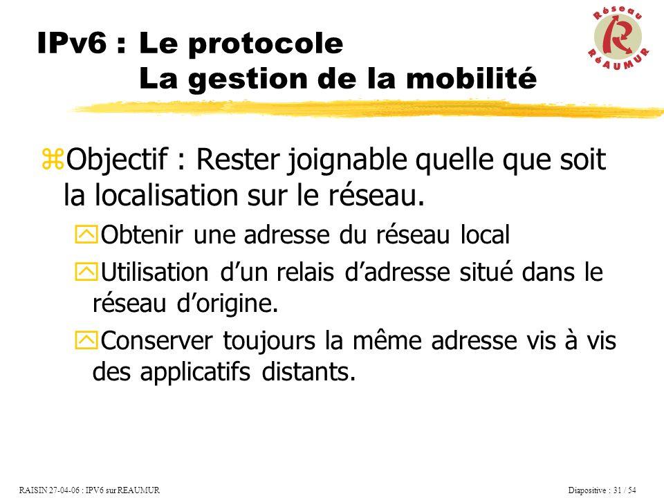 IPv6 : Le protocole La gestion de la mobilité