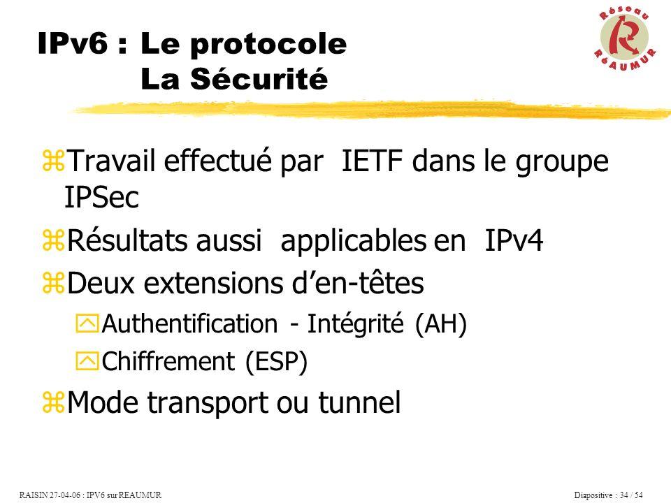 IPv6 : Le protocole La Sécurité