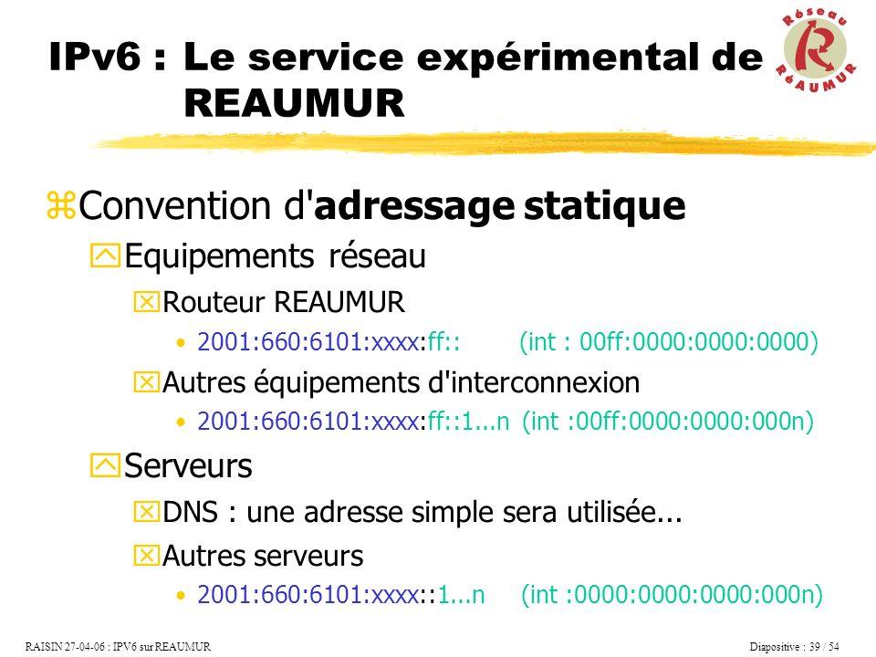 IPv6 : Le service expérimental de REAUMUR