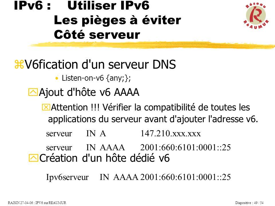 V6fication d un serveur DNS