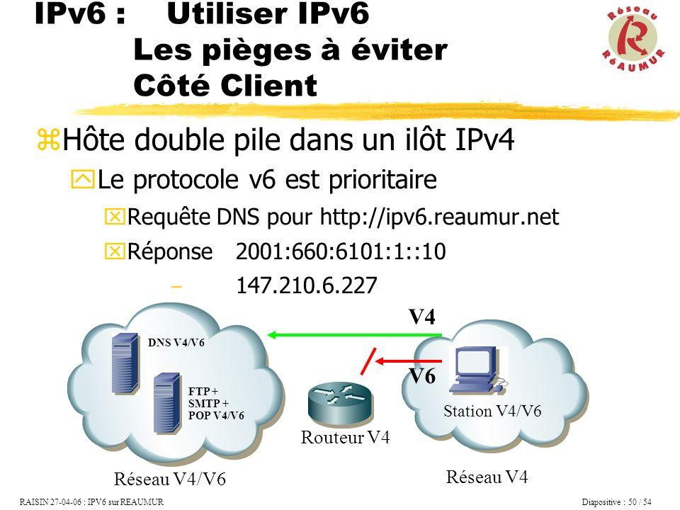 Hôte double pile dans un ilôt IPv4