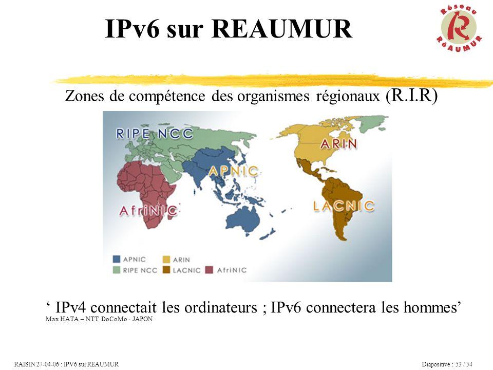 IPv6 sur REAUMUR Zones de compétence des organismes régionaux (R.I.R)