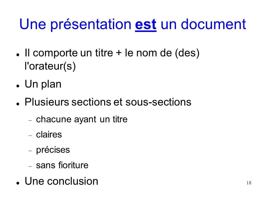 Une présentation est un document