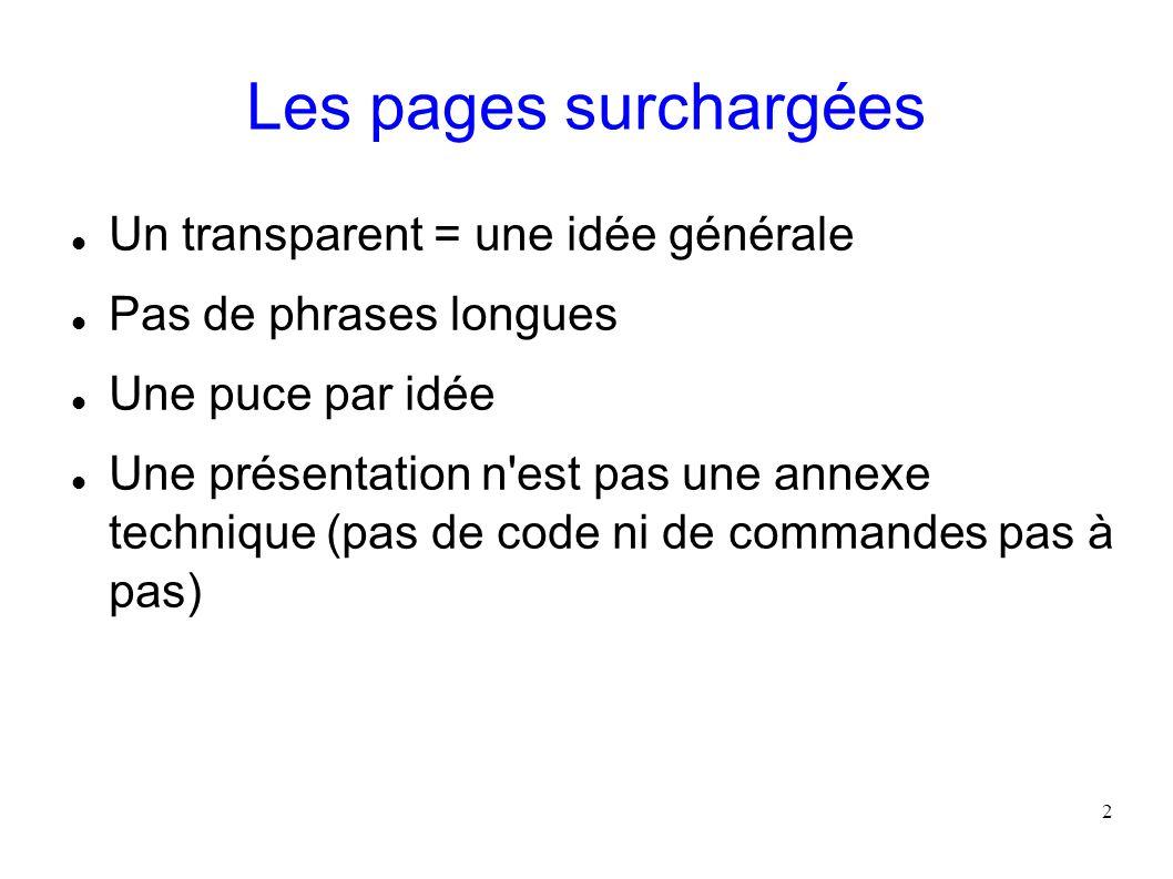 Les pages surchargées Un transparent = une idée générale