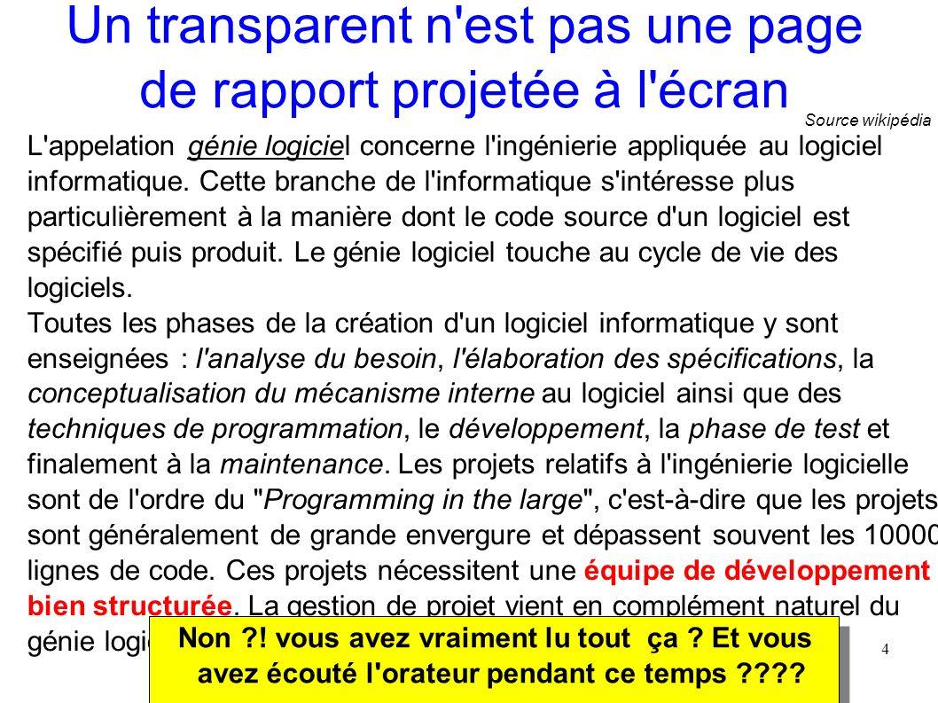 Un transparent n est pas une page de rapport projetée à l écran