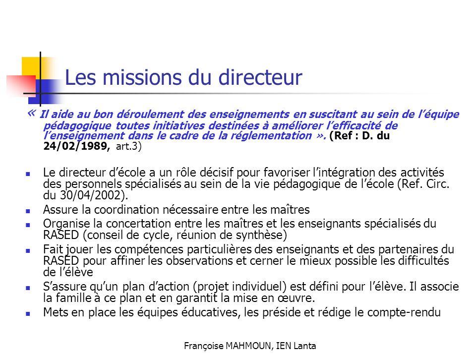 Les missions du directeur