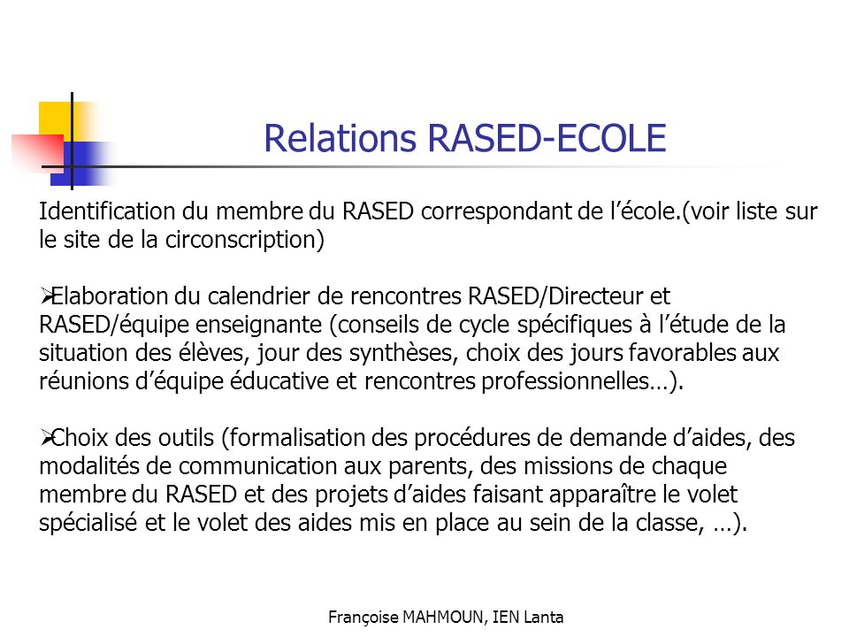 Relations RASED-ECOLE