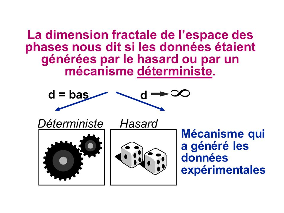 La dimension fractale de l'espace des phases nous dit si les données étaient générées par le hasard ou par un mécanisme déterministe.