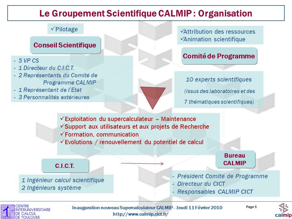 Le Groupement Scientifique CALMIP : Organisation