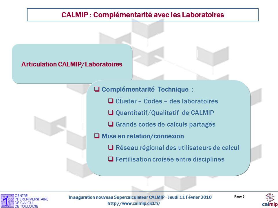CALMIP : Complémentarité avec les Laboratoires