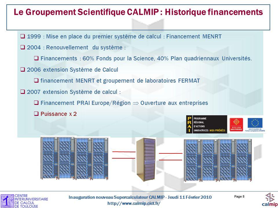 Le Groupement Scientifique CALMIP : Historique financements