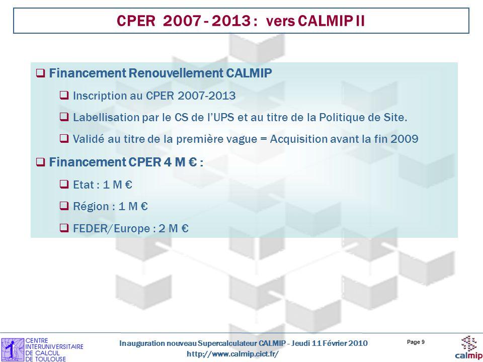 CPER 2007 - 2013 : vers CALMIP II Financement Renouvellement CALMIP