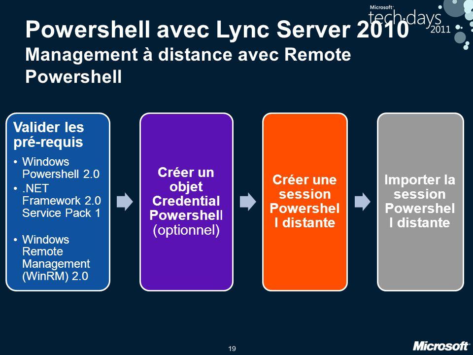 Powershell avec Lync Server 2010 Management à distance avec Remote Powershell