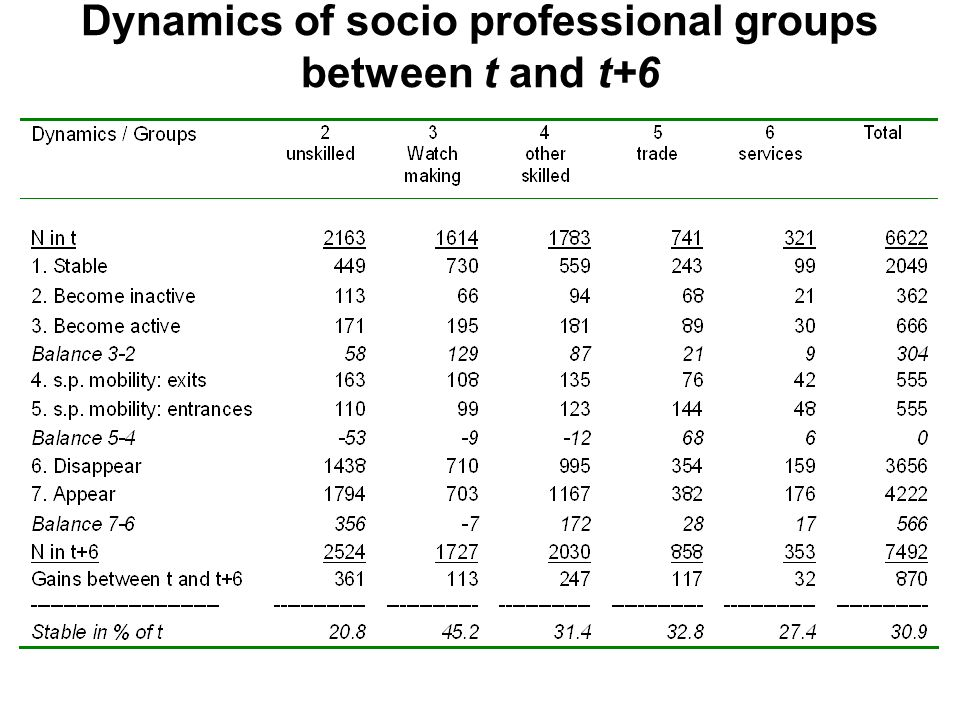Dynamics of socio professional groups between t and t+6