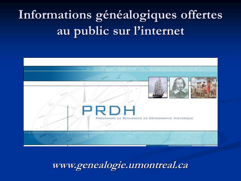 Informations généalogiques offertes au public sur l'internet