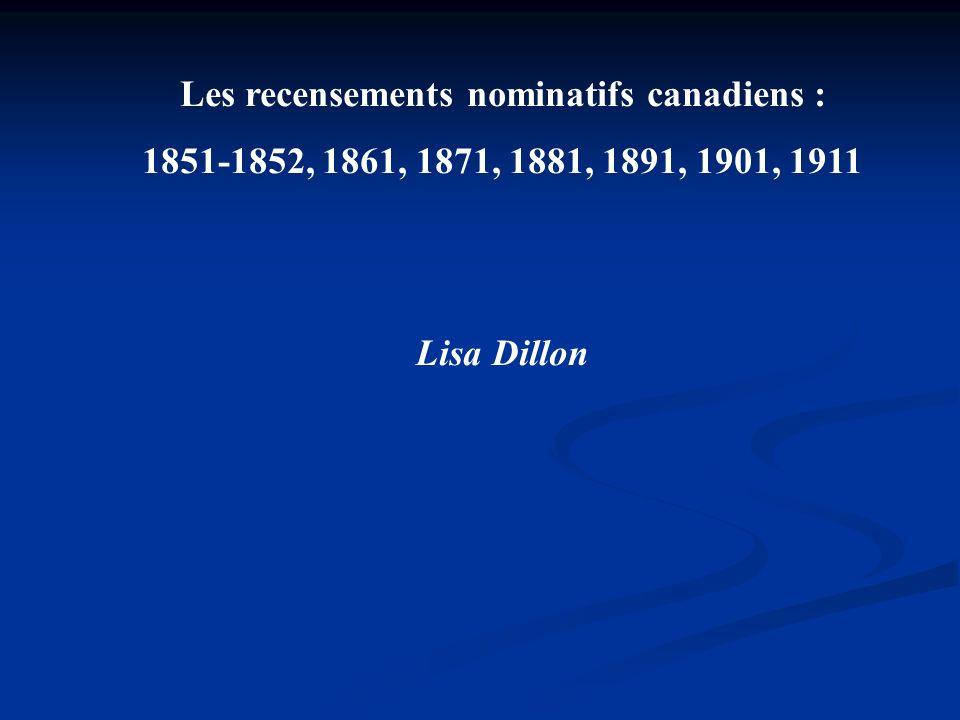 Les recensements nominatifs canadiens :