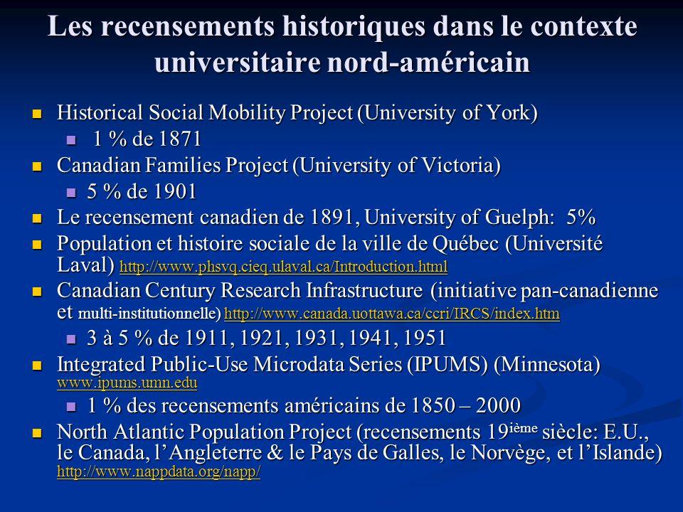 Les recensements historiques dans le contexte universitaire nord-américain