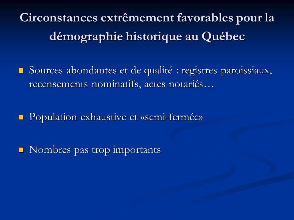 Circonstances extrêmement favorables pour la démographie historique au Québec